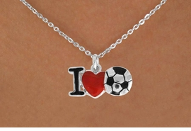 "<bR>               EXCLUSIVELY OURS!!<BR>         AN ALLAN ROBIN DESIGN!!<BR>CLICK HERE TO SEE 120+ EXCITING<BR>   CHANGES THAT YOU CAN MAKE!<BR>              LEAD & NICKEL FREE!!<BR>        W840SN - ""I LOVE SOCCER""<Br>  NECKLACE FROM $4.50TO $8.35<BR>                              ©2011"