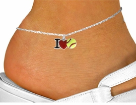 """<bR>               EXCLUSIVELY OURS!!<BR>         AN ALLAN ROBIN DESIGN!!<BR>CLICK HERE TO SEE 120+ EXCITING<BR>   CHANGES THAT YOU CAN MAKE!<BR>              LEAD & NICKEL FREE!!<BR>    W841SAK - """"I LOVE SOFT BALL""""<Br>      ANKLET FROM $4.50 TO $8.35"""