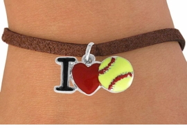 """<bR>               EXCLUSIVELY OURS!!<BR>         AN ALLAN ROBIN DESIGN!!<BR>CLICK HERE TO SEE 120+ EXCITING<BR>   CHANGES THAT YOU CAN MAKE!<BR>              LEAD & NICKEL FREE!!<BR>    W841SB - """"I LOVE SOFT BALL""""<Br>  BRACELET FROM $4.50 TO $8.35<BR>                              ©2011"""