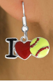 """<bR>               EXCLUSIVELY OURS!!<BR>         AN ALLAN ROBIN DESIGN!!<BR>CLICK HERE TO SEE 120+ EXCITING<BR>   CHANGES THAT YOU CAN MAKE!<BR>              LEAD & NICKEL FREE!!<BR>    W841SE - """"I LOVE SOFT BALL""""<Br>  EARRINGS FROM $4.50 TO $8.35<BR>                              ©2011"""