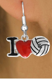 "<bR>               EXCLUSIVELY OURS!!<BR>         AN ALLAN ROBIN DESIGN!!<BR>CLICK HERE TO SEE 120+ EXCITING<BR>   CHANGES THAT YOU CAN MAKE!<BR>              LEAD & NICKEL FREE!!<BR>  W842SE - ""I LOVE VOLLEYBALL""<Br>  EARRINGS FROM $3.85 TO $7.50<BR>                              ©2011"