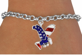 <bR>                EXCLUSIVELY OURS!!<Br>          AN ALLAN ROBIN DESIGN!!<BR>CLICK HERE TO SEE 120+ EXCITING<BR>   CHANGES THAT YOU CAN MAKE!<BR> W726SB - AMERICAN FLAG EAGLE<Br>   BRACELET FROM  $3.65 TO $7.50