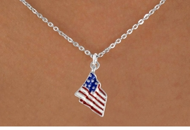 <bR>                EXCLUSIVELY OURS!!<Br>          AN ALLAN ROBIN DESIGN!!<BR>CLICK HERE TO SEE 120+ EXCITING<BR>   CHANGES THAT YOU CAN MAKE!<BR>W727SN - AMERICAN FLAG CHARM<Br>  NECKLACE FROM  $4.05 TO $7.50