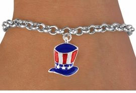 "<bR>               EXCLUSIVELY OURS!!<Br>         AN ALLAN ROBIN DESIGN!!<BR>CLICK HERE TO SEE 120+ EXCITING<BR>   CHANGES THAT YOU CAN MAKE!<BR> W728SB - AMERICAN FLAG STYLE<Br>     ""UNCLE SAM'S HAT"" CHARM &<Br>   BRACELET FROM  $4.50 TO $8.35"