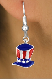 "<bR>               EXCLUSIVELY OURS!!<Br>         AN ALLAN ROBIN DESIGN!!<BR>CLICK HERE TO SEE 120+ EXCITING<BR>   CHANGES THAT YOU CAN MAKE!<BR> W728SE - AMERICAN FLAG STYLE<Br>    ""UNCLE SAM'S HAT"" CHARM &<Br>  EARRINGS FROM  $4.50 TO $8.35"
