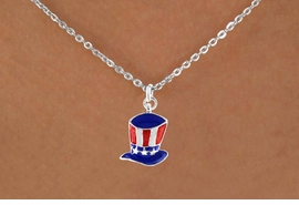 "<bR>               EXCLUSIVELY OURS!!<Br>         AN ALLAN ROBIN DESIGN!!<BR>CLICK HERE TO SEE 120+ EXCITING<BR>   CHANGES THAT YOU CAN MAKE!<BR> W728SN - AMERICAN FLAG STYLE<Br>     ""UNCLE SAM'S HAT"" CHARM &<Br>   NECKLACE FROM  $4.05 TO $7.50"