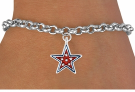 "<bR>               EXCLUSIVELY OURS!!<Br>         AN ALLAN ROBIN DESIGN!!<BR>CLICK HERE TO SEE 120+ EXCITING<BR>   CHANGES THAT YOU CAN MAKE!<BR> W729SB - RED ""PATRIOTIC STAR""<Br>        CHARM & BRACELET FROM<Br>                     $3.65 TO $7.50"