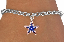 "<bR>               EXCLUSIVELY OURS!!<Br>         AN ALLAN ROBIN DESIGN!!<BR>CLICK HERE TO SEE 120+ EXCITING<BR>   CHANGES THAT YOU CAN MAKE!<BR> W730SB - BLUE ""PATRIOTIC STAR""<Br>         CHARM & BRACELET FROM<Br>                      $3.65 TO $7.50"