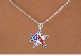 "<bR>               EXCLUSIVELY OURS!!<Br>         AN ALLAN ROBIN DESIGN!!<BR>CLICK HERE TO SEE 120+ EXCITING<BR>   CHANGES THAT YOU CAN MAKE!<BR>   W731SN -  ""PATRIOTIC 2-STAR""<Br>        CHARM & NECKLACE FROM<Br>                     $4.50 TO $8.35"