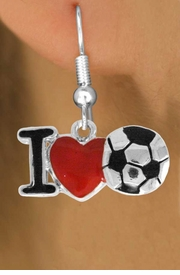 "<bR>               EXCLUSIVELY OURS!!<BR>         AN ALLAN ROBIN DESIGN!!<BR>CLICK HERE TO SEE 500+ EXCITING<BR>   CHANGES THAT YOU CAN MAKE!<BR>              LEAD & NICKEL FREE!!<BR>        W840SE - ""I LOVE SOCCER""<Br>  EARRINGS FROM $3.85 TO $7.50<BR>                              ©2011"