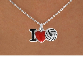 "<bR>               EXCLUSIVELY OURS!!<BR>         AN ALLAN ROBIN DESIGN!!<BR>CLICK HERE TO SEE 500+ EXCITING<BR>   CHANGES THAT YOU CAN MAKE!<BR>              LEAD & NICKEL FREE!!<BR>  W842SN - ""I LOVE VOLLEYBALL""<Br>  NECKLACE FROM $4.50 TO $8.35<BR>                              ©2011"