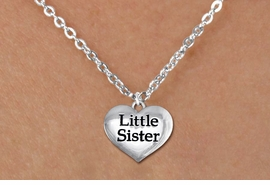 "<bR>               EXCLUSIVELY OURS!!<BR>         AN ALLAN ROBIN DESIGN!!<BR>CLICK HERE TO SEE 600+ EXCITING<BR>   CHANGES THAT YOU CAN MAKE!<BR>      CADMIUM,  LEAD & NICKEL FREE!! <BR>W1296SN -  POLISHED SILVER TONE <Br>""LITTLE SISTER"" HEART & CHILD'S NECKLACE <BR>      FROM $4.50 TO $8.35 �2012"