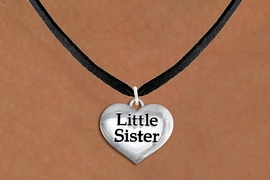 "<bR>               EXCLUSIVELY OURS!!<BR>         AN ALLAN ROBIN DESIGN!!<BR>CLICK HERE TO SEE 600+ EXCITING<BR>   CHANGES THAT YOU CAN MAKE!<BR>      CADMIUM,  LEAD & NICKEL FREE!! <BR>W1296SN -  POLISHED SILVER TONE <Br>""LITTLE SISTER"" HEART & NECKLACE <BR>      FROM $4.55 TO $8.00 �2012"