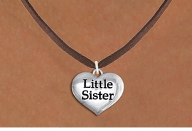 "<bR>               EXCLUSIVELY OURS!!<BR>         AN ALLAN ROBIN DESIGN!!<BR>CLICK HERE TO SEE 600+ EXCITING<BR>   CHANGES THAT YOU CAN MAKE!<BR>      CADMIUM,  LEAD & NICKEL FREE!! <BR>W1296SN -  POLISHED SILVER TONE <Br>""LITTLE SISTER"" HEART & NECKLACE <BR>      FROM $4.50 TO $8.35 �2012"