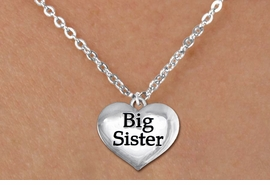"<bR>               EXCLUSIVELY OURS!!<BR>         AN ALLAN ROBIN DESIGN!!<BR>CLICK HERE TO SEE 600+ EXCITING<BR>   CHANGES THAT YOU CAN MAKE!<BR>      CADMIUM,  LEAD & NICKEL FREE!! <BR>W1297SN -  POLISHED SILVER TONE <Br>""BIG SISTER"" HEART & CHILD'S NECKLACE <BR>      FROM $4.50 TO $8.35 �2012"