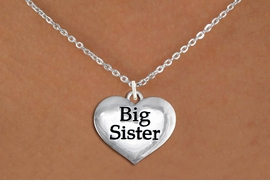 "<bR>               EXCLUSIVELY OURS!!<BR>         AN ALLAN ROBIN DESIGN!!<BR>CLICK HERE TO SEE 600+ EXCITING<BR>   CHANGES THAT YOU CAN MAKE!<BR>      CADMIUM,  LEAD & NICKEL FREE!! <BR>W1297SN -  POLISHED SILVER TONE <Br>""BIG SISTER"" HEART & NECKLACE <BR>      FROM $4.50 TO $8.35 �2012"