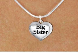 "<bR>               EXCLUSIVELY OURS!!<BR>         AN ALLAN ROBIN DESIGN!!<BR>CLICK HERE TO SEE 600+ EXCITING<BR>   CHANGES THAT YOU CAN MAKE!<BR>      CADMIUM,  LEAD & NICKEL FREE!! <BR>W1297SN -  POLISHED SILVER TONE <Br>""BIG SISTER"" HEART & NECKLACE <BR>      FROM $4.55 TO $8.00 �2012"