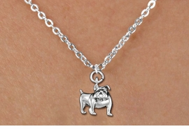 <bR>               EXCLUSIVELY OURS!!<BR>         AN ALLAN ROBIN DESIGN!!<BR>CLICK HERE TO SEE 600+ EXCITING<BR>   CHANGES THAT YOU CAN MAKE!<BR>      CADMIUM,  LEAD & NICKEL FREE!! <BR>W298SN -  POLISHED SILVER TONE <Br>BULLDOG CHARM  & CHILD'S NECKLACE <BR>      FROM $4.50 TO $8.35 �2012