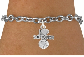"<bR>               EXCLUSIVELY OURS!!<BR>         AN ALLAN ROBIN DESIGN!!<BR>CLICK HERE TO SEE 600+ EXCITING<BR>   CHANGES THAT YOU CAN MAKE!<BR>  LEAD, NICKEL & CADMIUM FREE!!<BR>         W1020SB - ""I LOVE SOCCER"" <Br>   & BRACELET FROM $4.15 TO $8.00"