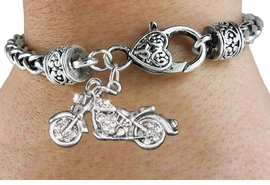 <bR>                             EXCLUSIVELY OURS!!<BR>                       AN ALLAN ROBIN DESIGN!!<BR>              CLICK HERE TO SEE 600+ EXCITING<BR>                 CHANGES THAT YOU CAN MAKE!<BR>                LEAD, NICKEL & CADMIUM FREE!!<BR>W1188SB - CRYSTAL MOTORCYCLE CHARM  <Br>& HEART CLASP BRACELET FROM $5.63 TO $12.50 �2012