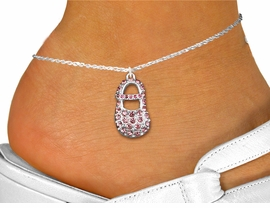 "<bR>                 EXCLUSIVELY OURS!!<BR>           AN ALLAN ROBIN DESIGN!!<BR>  CLICK HERE TO SEE 600+ EXCITING<BR>     CHANGES THAT YOU CAN MAKE!<BR>LEAD, NICKEL & CADMIUM FREE!!<BR>     W1276SAK - ""BABY GIRL SHOE"" <BR>  PINK CRYSTAL CHARM AND ANKLET <Br>      FROM $4.35 TO $9.00 �2012"