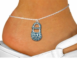 "<bR>                 EXCLUSIVELY OURS!!<BR>           AN ALLAN ROBIN DESIGN!!<BR>  CLICK HERE TO SEE 600+ EXCITING<BR>     CHANGES THAT YOU CAN MAKE!<BR>LEAD, NICKEL & CADMIUM FREE!!<BR>     W1277SAK - ""BABY BOY SHOE"" <BR>  BLUE CRYSTAL CHARM AND ANKLET <Br>      FROM $4.35 TO $9.00 �2012"