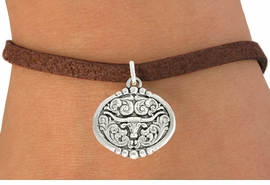 "<bR>               EXCLUSIVELY OURS!!<BR>         AN ALLAN ROBIN DESIGN!!<BR>CLICK HERE TO SEE 600+ EXCITING<BR>   CHANGES THAT YOU CAN MAKE!<BR>              LEAD & NICKEL FREE!!<BR>   W1001SB - ""LONGHORN IN OVAL"" <Br>   & BRACELET FROM $4.15 TO $8.00"