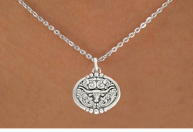 "<bR>               EXCLUSIVELY OURS!!<BR>         AN ALLAN ROBIN DESIGN!!<BR>CLICK HERE TO SEE 600+ EXCITING<BR>   CHANGES THAT YOU CAN MAKE!<BR>              LEAD & NICKEL FREE!!<BR>  W1001SN - ""LONGHORN IN OVAL""<Br>  NECKLACE FROM $4.55 TO $8.00"