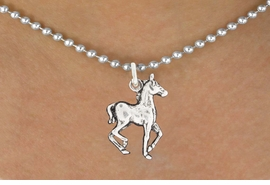 "<bR>               EXCLUSIVELY OURS!!<BR>         AN ALLAN ROBIN DESIGN!!<BR>CLICK HERE TO SEE 600+ EXCITING<BR>   CHANGES THAT YOU CAN MAKE!<BR>              LEAD & NICKEL FREE!!<BR>     W1002SN - ""TROTTING HORSE""<Br>  NECKLACE FROM $4.55 TO $8.00"