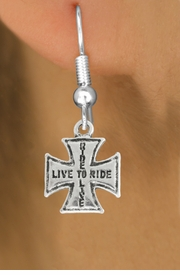 "<bR>               EXCLUSIVELY OURS!!<BR>         AN ALLAN ROBIN DESIGN!!<BR>CLICK HERE TO SEE 600+ EXCITING<BR>   CHANGES THAT YOU CAN MAKE!<BR>              LEAD & NICKEL FREE!!<BR>W1006SE - ""LIVE TO RIDE, RIDE TO LIVE""<Br>  EARRINGS FROM $3.25 TO $8.00"