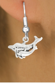 "<bR>               EXCLUSIVELY OURS!!<BR>         AN ALLAN ROBIN DESIGN!!<BR>CLICK HERE TO SEE 600+ EXCITING<BR>   CHANGES THAT YOU CAN MAKE!<BR>              LEAD & NICKEL FREE!!<BR>   W1015SE - ""DOLPHIN AND CALF""<Br>  EARRINGS FROM $3.25 TO $8.00"