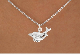 "<bR>               EXCLUSIVELY OURS!!<BR>         AN ALLAN ROBIN DESIGN!!<BR>CLICK HERE TO SEE 600+ EXCITING<BR>   CHANGES THAT YOU CAN MAKE!<BR>              LEAD & NICKEL FREE!!<BR>  W1015SN - ""DOLPHIN AND CALF""<Br>  NECKLACE FROM $4.55 TO $8.00"