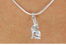 "<bR>               EXCLUSIVELY OURS!!<BR>         AN ALLAN ROBIN DESIGN!!<BR>CLICK HERE TO SEE 600+ EXCITING<BR>   CHANGES THAT YOU CAN MAKE!<BR>              LEAD & NICKEL FREE!!<BR>   W1028SN - ""COYOTE HOWLING""<Br>  NECKLACE FROM $4.55 TO $8.00"