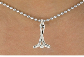 "<bR>               EXCLUSIVELY OURS!!<BR>         AN ALLAN ROBIN DESIGN!!<BR>CLICK HERE TO SEE 600+ EXCITING<BR>   CHANGES THAT YOU CAN MAKE!<BR>              LEAD & NICKEL FREE!!<BR>W1030SN - ""HOCKEY STICKS & PUCK""<Br>  NECKLACE FROM $4.55 TO $8.00"