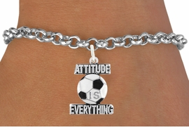 "<bR>                               EXCLUSIVELY OURS!!<BR>                        AN ALLAN ROBIN DESIGN!!<BR>                CLICK HERE TO SEE 1600+ EXCITING<BR>                   CHANGES THAT YOU CAN MAKE!<BR>                 LEAD,CADMIUM, & NICKEL FREE!!<BR>           W1049SB - ""ATTITUDE IS EVERYTHING""<Br>SOCCER BALL BRACELET FROM $4.50 TO $8.35 ©2011"