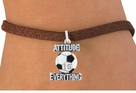 "<bR>                               EXCLUSIVELY OURS!!<BR>                        AN ALLAN ROBIN DESIGN!!<BR>                CLICK HERE TO SEE 600+ EXCITING<BR>                   CHANGES THAT YOU CAN MAKE!<BR>                              LEAD & NICKEL FREE!!<BR>           W1049SB - ""ATTITUDE IS EVERYTHING""<Br>SOCCER BALL BRACELET FROM $4.50 TO $8.35 ©2011"