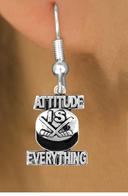 "<bR>                         EXCLUSIVELY OURS!!<BR>                   AN ALLAN ROBIN DESIGN!!<BR>           CLICK HERE TO SEE 600+ EXCITING<BR>             CHANGES THAT YOU CAN MAKE!<BR>                         LEAD & NICKEL FREE!!<BR>    W1051SE - ""ATTITUDE IS EVERYTHING""<Br>HOCKEY EARRINGS FROM $4.50 TO $8.35 ©2011"