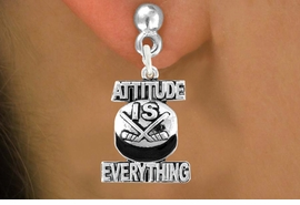 "<bR>                         EXCLUSIVELY OURS!!<BR>                   AN ALLAN ROBIN DESIGN!!<BR>           CLICK HERE TO SEE 600+ EXCITING<BR>             CHANGES THAT YOU CAN MAKE!<BR>                         LEAD & NICKEL FREE!!<BR>    W1051SE - ""ATTITUDE IS EVERYTHING""<Br>HOCKEY EARRINGS FROM $3.25 TO $8.00 ©2011"