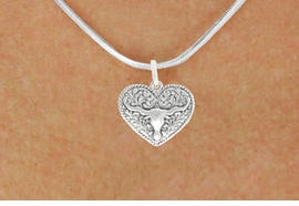 <bR>                  EXCLUSIVELY OURS!!<BR>            AN ALLAN ROBIN DESIGN!!<BR>   CLICK HERE TO SEE 600+ EXCITING<BR>      CHANGES THAT YOU CAN MAKE!<BR>                 LEAD & NICKEL FREE!!<BR>W1066SN - LONGHORN IN HEART CHARM<Br>& NECKLACE FROM $4.50 TO $8.35 �2011