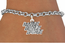 """<bR>                                 EXCLUSIVELY OURS!!<BR>                           AN ALLAN ROBIN DESIGN!!<BR>                  CLICK HERE TO SEE 1600+ EXCITING<BR>                     CHANGES THAT YOU CAN MAKE! <BR>                  LEAD, CADIMIUM,  & NICKEL FREE!!<BR>                W1072SB - """"DANCE, DANCE, DANCE""""<Br>             BRACELET FROM $4.15 TO $8.00 ©2011"""