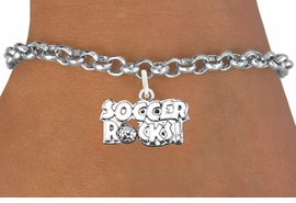 "<bR>                      EXCLUSIVELY OURS!!<BR>                AN ALLAN ROBIN DESIGN!!<BR>       CLICK HERE TO SEE 1600+ EXCITING<BR>          CHANGES THAT YOU CAN MAKE!<BR>         LEAD, CADMIUM, & NICKEL FREE!!<BR>     W1103SB - ""SOCCER ROCKS"" CHARM<Br> & BRACELET FROM $4.15 TO $8.00 ©2011"