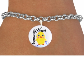 "<bR>                               EXCLUSIVELY OURS!!<BR>                         AN ALLAN ROBIN DESIGN!!<BR>                CLICK HERE TO SEE 600+ EXCITING<BR>                   CHANGES THAT YOU CAN MAKE!<BR>                             LEAD & NICKEL FREE!!<BR>     W1124SB - ""SWIMMING CHICK"" CHARM <Br>      & BRACELET FROM $4.15 TO $8.00 �2011"