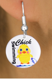 """<bR>                           EXCLUSIVELY OURS!!<BR>                     AN ALLAN ROBIN DESIGN!!<BR>            CLICK HERE TO SEE 600+ EXCITING<BR>               CHANGES THAT YOU CAN MAKE!<BR>                          LEAD & NICKEL FREE!!<BR>       W1124SE - """"SWIMMING CHICK"""" CHARM<Br>       EARRINGS FROM $4.50 TO $8.35 �2011"""