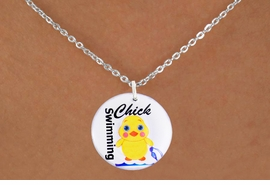 "<bR>                              EXCLUSIVELY OURS!!<BR>                        AN ALLAN ROBIN DESIGN!!<BR>               CLICK HERE TO SEE 600+ EXCITING<BR>                  CHANGES THAT YOU CAN MAKE!<BR>                             LEAD & NICKEL FREE!!<BR>        W1124SN - ""SWIMMING CHICK"" CHARM<Br>        & NECKLACE FROM $4.55 TO $8.00 �2011"