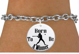 """<bR>                               EXCLUSIVELY OURS!!<BR>                         AN ALLAN ROBIN DESIGN!!<BR>                CLICK HERE TO SEE 600+ EXCITING<BR>                   CHANGES THAT YOU CAN MAKE!<BR>                             LEAD & NICKEL FREE!!<BR>W1147SB - """"BORN TO BE A WINNER"""" SOFTBALL<Br>CHARM  & BRACELET FROM $4.15 TO $8.00 �2012"""