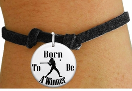 """<bR>                               EXCLUSIVELY OURS!!<BR>                         AN ALLAN ROBIN DESIGN!!<BR>                CLICK HERE TO SEE 600+ EXCITING<BR>                   CHANGES THAT YOU CAN MAKE!<BR>                             LEAD & NICKEL FREE!!<BR>W1147SB - """"BORN TO BE A WINNER"""" SOFTBALL CHARM  <Br>& CHILDRENS BRACELET FROM $4.15 TO $8.00 �2012"""