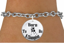 "<bR>                               EXCLUSIVELY OURS!!<BR>                         AN ALLAN ROBIN DESIGN!!<BR>                CLICK HERE TO SEE 600+ EXCITING<BR>                   CHANGES THAT YOU CAN MAKE!<BR>                             LEAD & NICKEL FREE!!<BR>W1149SB - ""BORN TO BE A CHAMPION"" WOMENS ICE HOCKEY<Br>CHARM  & BRACELET FROM $4.15 TO $8.00 �2012"