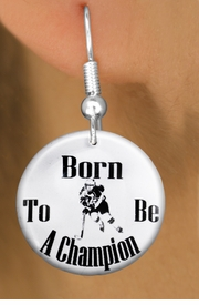 "<bR>                           EXCLUSIVELY OURS!!<BR>                     AN ALLAN ROBIN DESIGN!!<BR>            CLICK HERE TO SEE 600+ EXCITING<BR>               CHANGES THAT YOU CAN MAKE!<BR>                          LEAD & NICKEL FREE!!<BR>W1149SE - ""BORN TO BE A CHAMPION"" WOMENS ICE HOCKEY<Br>CHARM EARRINGS FROM $3.25 TO $8.00 �2012"