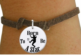 "<bR>                               EXCLUSIVELY OURS!!<BR>                         AN ALLAN ROBIN DESIGN!!<BR>                CLICK HERE TO SEE 600+ EXCITING<BR>                   CHANGES THAT YOU CAN MAKE!<BR>                             LEAD & NICKEL FREE!!<BR>W1154SB - ""BORN TO BE A STAR"" WOMENS SOCCER CHARM  <Br>& CHILDRENS BRACELET FROM $4.15 TO $8.00 �2012"