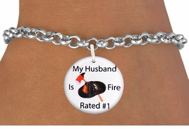 "<bR>                            EXCLUSIVELY OURS!!<BR>                      AN ALLAN ROBIN DESIGN!!<BR>             CLICK HERE TO SEE 600+ EXCITING<BR>                CHANGES THAT YOU CAN MAKE!<BR>                         LEAD & NICKEL FREE!! <BR>W1179SB - ""MY HUSBAND IS FIRE RATED #1"" <BR>       WITH FIRE HELMET AND AXE CHARM <Br>        & BRACELET FROM $4.15 TO $8.00 �2012"